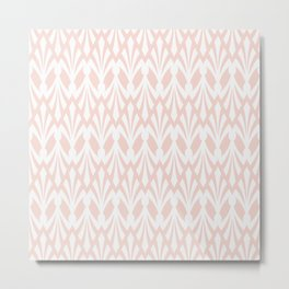 Decorative Plumes - White on Peach Metal Print