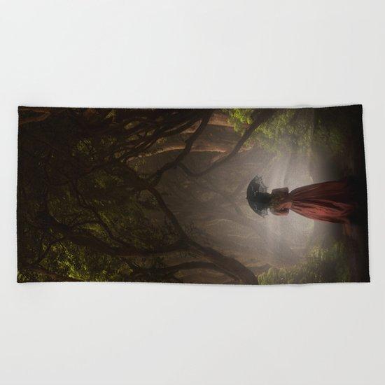 Satin red dress Beach Towel