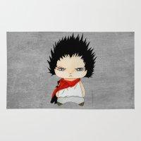 cyberpunk Area & Throw Rugs featuring A Boy - Tetsuo (Akira) by Christophe Chiozzi