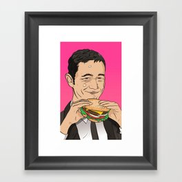 Joseph Gordon Levitt With Hamburger Framed Art Print