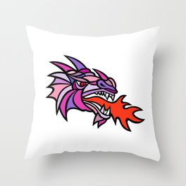 Mosaic Mythical Dragon Breathing Fire Mascot Throw Pillow