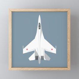 Su-27 Flanker Fighter Jet Aircraft - Slate Framed Mini Art Print