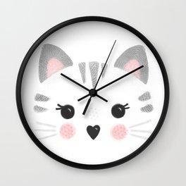 Little Kitty Face Wall Clock