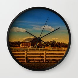 Sunset Over the Farm Wall Clock