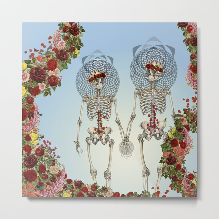 The Summer of Love anatomical skeleton collage art by bedelgeuse Metal Print