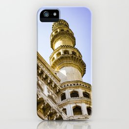 Looking up at One of the Minarets at the Charminar Mosque in Hyderabad, India iPhone Case