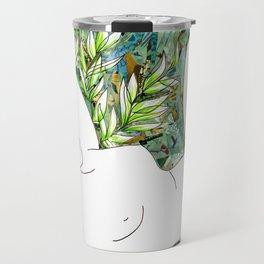 Nude with Green Flowers Travel Mug
