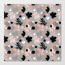 Abstract maple leaves autumn in pink and gray colors Canvas Print