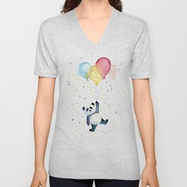 Birthday Panda Balloons Cute Animal Watercolor Unisex V-Neck