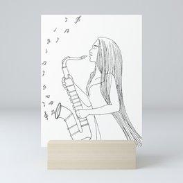 Saxophone Lady Mini Art Print