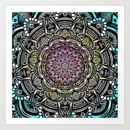 DETAILED CHARCOAL MANDALA (BLACK AND WHITE) WITH COLOR (PINK YELLOW TEAL) Art Print