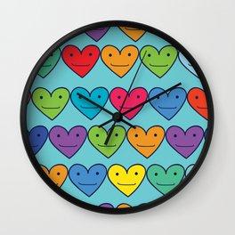 Colored hearts Wall Clock