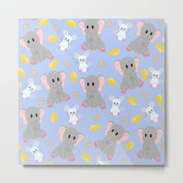 Cute Gray White Elephant Mouse Peanut Cheese Metal Print