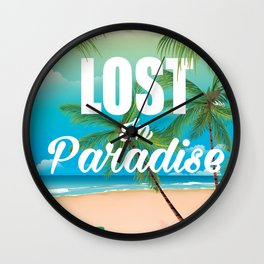 Lost in paradise travel poster Wall Clock