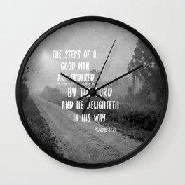 Steps of a Good Man Bible Verse Wall Clock