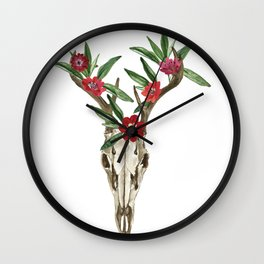 Bohemian deer skull and antlers with flowers Wall Clock