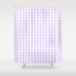 Chalky Pale Lilac Pastel and White Gingham Check Plaid Shower Curtain