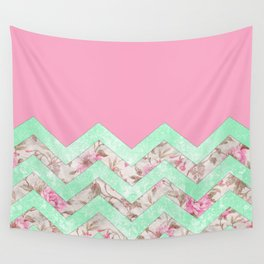 Girly Mint Green Pink Floral Block Chevron Pattern Wall Tapestry