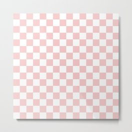 Gingham Pink Blush Rose Quartz Checked Pattern Metal Print
