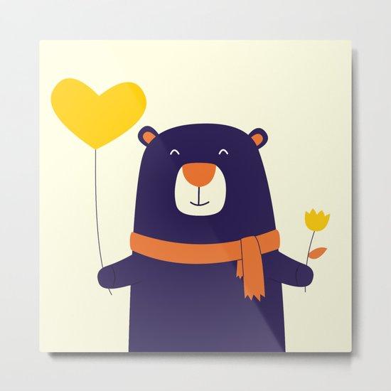 Purple Bear is Here Metal Print