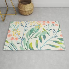 Floral Seamless Pattern Mystical Magical Delicate Flowers Green Leaves Pink Blossoms Rug