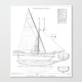Vintage black & white sailboat blueprint drawing antique nautical beach or lake house preppy decor Canvas Print