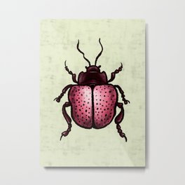 Pink Beetle With Dots Insect Art Metal Print