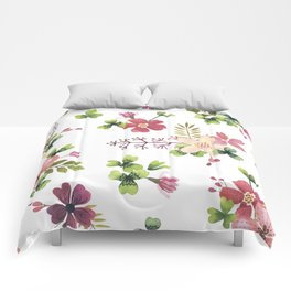 pink-green flowerbed Comforters