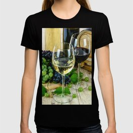 Glasses of Wine plus Grapes and Barrel T-shirt