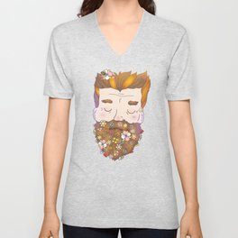 Flower beard Unisex V-Neck