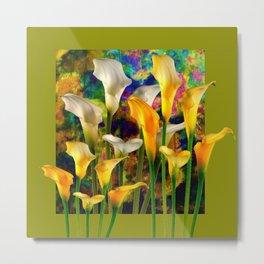 Ivory & Golden  Color Calla Lilies Avocado Art Metal Print