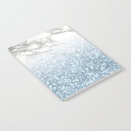 She Sparkles - Turquoise Teal Glitter Marble Notebook