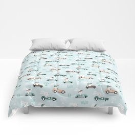 Bunny Race - retro racing pattern Comforters