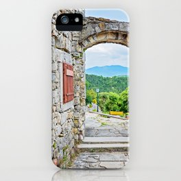Town of Hum stone gate and street view iPhone Case