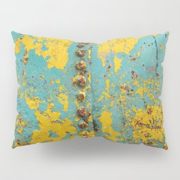 yellow and blue worn paint and rust texture Pillow Sham