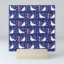 Seagull and Lighthouse Print Mini Art Print