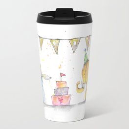 """""""Celebrate"""" Animals with Dog, Rabbit and Elephant Party in Watercolor Travel Mug"""