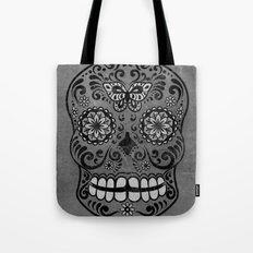 Dark gothic silver grey sugar skull Tote Bag