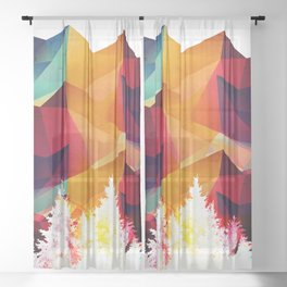 Forest made of color Sheer Curtain