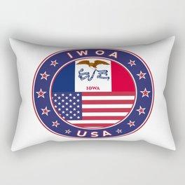 Iowa, Iowa t-shirt, Iowa sticker, circle, Iowa flag, white bg Rectangular Pillow