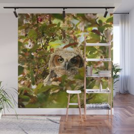 Baby owl in spring blossoms Wall Mural