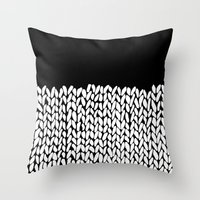 knit Throw Pillows featuring Half Knit by Project M