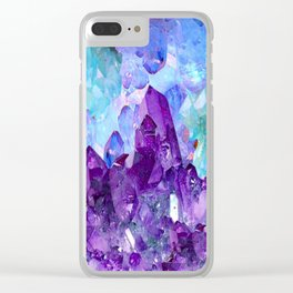 PURPLE AMETHYST CRYSTALS & BLUE-GREEN AQUAMARINE Clear iPhone Case