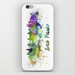 Sao Paulo skyline in watercolor splatters iPhone Skin