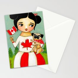 Canada Day Celebration with Pug dog by Tascha Stationery Cards