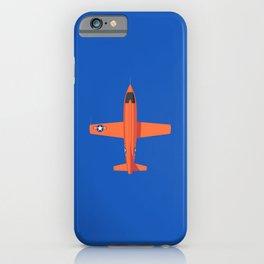 X-1 Mach Buster Rocket Aircraft - Orange Blue iPhone Case