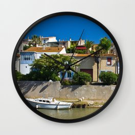 old houses on the canal du midi, france 4 Wall Clock