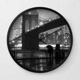 Brooklyn Bridge on a rainy night Wall Clock