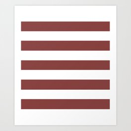 Brandy - solid color - white stripes pattern Art Print