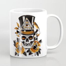 Smoking skull and roses Coffee Mug